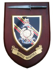 Royal Marines Regimental Wall Plaque With Pewter Dagger
